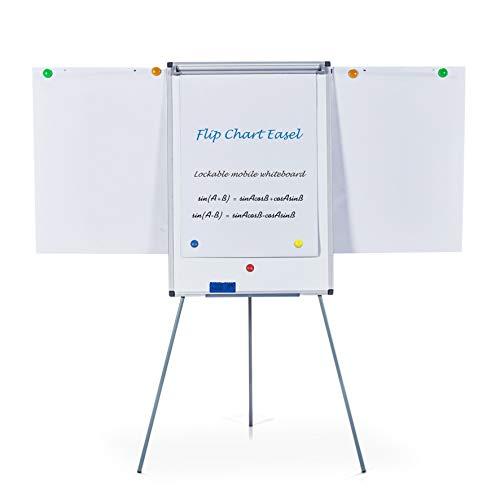 S SWANCROWN Flipchart Whiteboard Magnetisch mit Dreibein Ständer | Höhenverstellbar | Inklusive Papier Magnete Stift Schwamm, 90X60cm