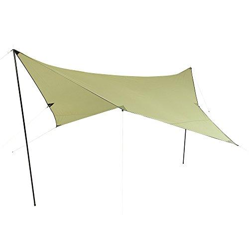 10T Outdoor Equipment 10T Beechnut Tarp 3x3 Sonnensegel mit UV50+ Sonnenschutz Camping Sonnendach Outdoor Markise mit Aufstellstangen Abspannleinen Heringe, wasserdicht mit 2000mm Wassersäule