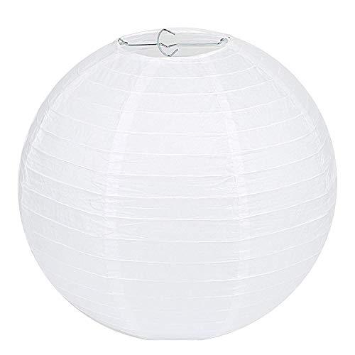 LIHAO Lampenschirm Rund Weiß Papier Laterne Classic Bamboo Style Gerippter Lampenschirm Deko für Party Garten Hochzeit Dekoration (30 cm, 12')