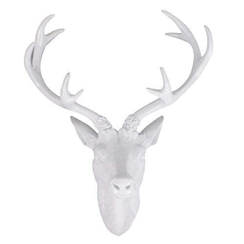 Mojawo Tolles XL Hirschgeweih Hirschkopf Geweih 10-Ender Weiß Optik 30x18x40cm Figur Skulptur Wohndekoration