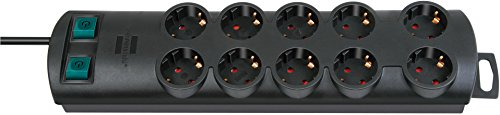 Brennenstuhl Primera-Line, Steckdosenleiste 10-fach (Steckerleiste mit 2 Schaltern für je 5 Steckdosen und 2m Kabel) Farbe: schwarz