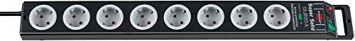 Brennenstuhl Super-Solid, Steckdosenleiste 8-fach mit Überspannungsschutz (2,5m Kabel und Schalter - aus bruchfestem Polycarbonat) Farbe: schwarz/grau