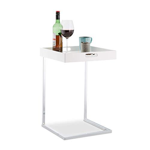 Relaxdays Tabletttisch, verchromtes Gestell, Beistelltisch, Serviertisch, abnehmbares Tablett, HBT 58x40x40 cm, weiß