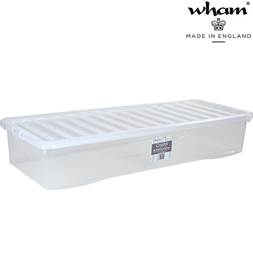 Unterbettbox mit Deckel, transparent, 55 L, Stapelbar, 99x39,5 cm, 2,52 kg: Aufbewahrungs Box Unterbett Kiste Multifunktions Box Unterbettkommode Kunststoff