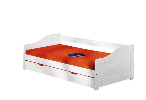Inter Link Bett Funktionsbett Bed Kinderbett Kids Bett Einzelbett Bio Echt Holz Weiss lackiert