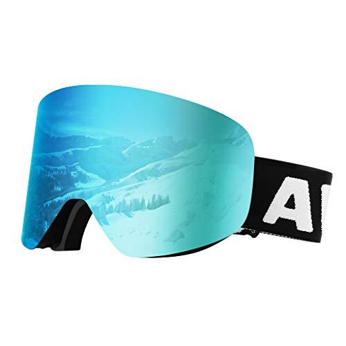 Awenia Skibrille Damen Herren Brillenträger Snowboardbrille, Anti-Nebel OTG UV Schutz, Zylindrische Verspiegelte Linse, Rahmenlos und wechselbar (Eisblau (VLT 11%))