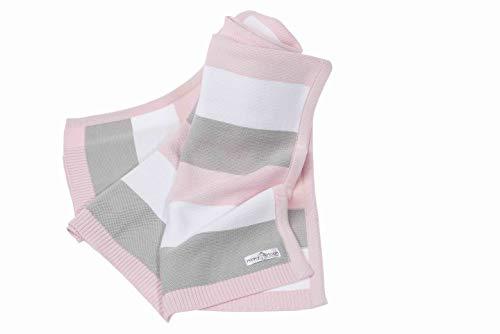 Babydecke aus 100% Bio Baumwolle - kuschelige Strickdecke ideal als Erstlingsdecke, Pucktuch oder Kuscheldecke für Mädchen in rosa/grau/weiß | 90 x 70 cm