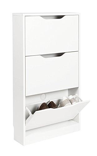 ts-ideen Schuhschrank Regal Schuhkipper Bad Flur Diele Standregal Weiss Weiß 3 Fächer extra Schmal 108,5 x 60 x 17 cm