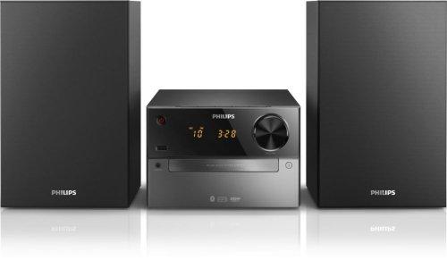 Philips BTM2310 Mini Stereoanlage (mit Bluetooth, CD, MP3, USB zum Laden, UKW, 15 Watt) schwarz