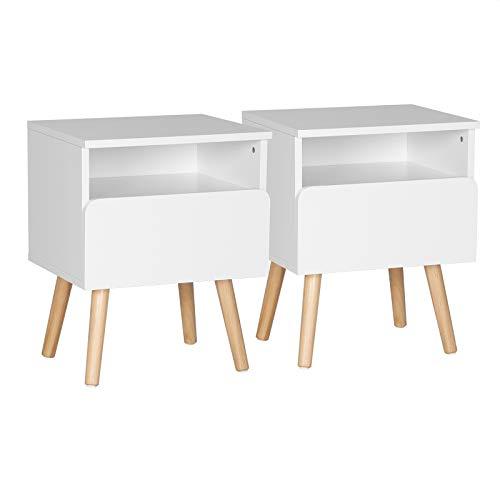 WOLTU Nachttisch 2er Set Nachtkommode Nachtschrank Beistelltisch Sofatisch, mit Schublade und Offenem Fach, mit Beinen, Holz, Weiß, 40x33,5x50cm(BxTxH), TSR58ws-2
