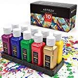 Arteza Textilfarbe | 10er-Set mit 60 ml Flaschen | Permanente Stoffmalfarbe für Textil Stoff Leinwand Holz Keramik Glas | Waschmaschinenfeste und Trocknersichere Stofffarben