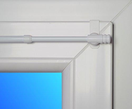 dekondo Gardinenstange Rapid Fix-klick 110-150cm ausziehbar Weiß (für Fensterdicke 15-20mm) Klemmstange/Spannfix