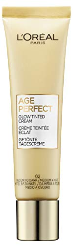 L'Oréal Paris Age Perfect Getönte Tagescreme, Mittel bis Dunkel 02, feuchtigkeitsspendend Tagescreme mit Hyaluron für trockene und reife Haut
