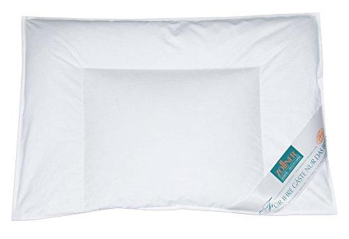 ZOLLNER Kinderkopfkissen / Kinderkissen / Babykopfkissen versteppt 40x60 cm, weiß, 90% Daunen 10% Federn, in weiteren Größen erhältlich, Serie 'Holle'