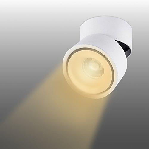 LANBOS LED Deckenaufbaustrahler wandleuchten/ 10W COB Lampe/3000K Warmweiß / 10*10CM/ Aufbauleuchte/Falten Drehen Aufputz Deckenleuchte/ Aluminium (Weiß)