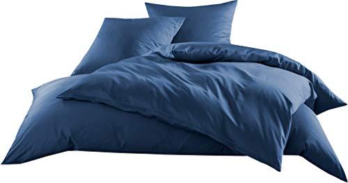 Mako-Satin Baumwollsatin Bettwäsche Uni einfarbig zum Kombinieren (Bettbezug 135 cm x 200 cm, Jeans Blau) viele Farben & Größen