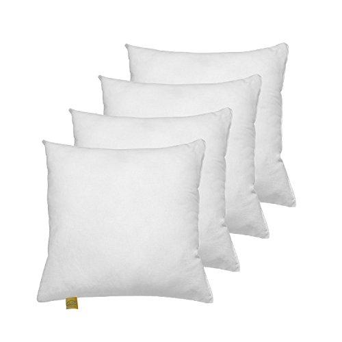 4er Komfort-Set Federkissen 40x40 cm, waschbar, Federfüllung, Bezug Baumwolle, rein-weiß, OekoTex100 geprüft