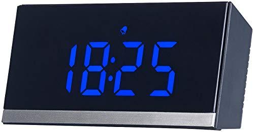 infactory LED Funkwecker: Dimmbare Funk-LED-Tischuhr, Wecker und Temperaturanzeige, schwarz/blau (Wecker Digital)