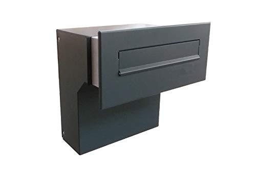 F-04 Anthrazit (7016) Mauerdurchwurf Briefkasten ohne Namensschild (variable Tiefe) - LETTERBOX24.de
