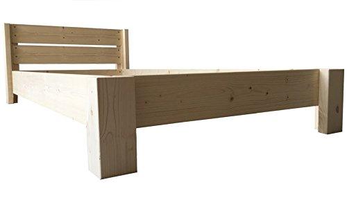 LIEGEWERK Bett Holz massiv mit Kopfteil Designbett Holzbett 90 100 120 140 160 180 200 x 200cm hergestellt in BRD Massivholzbett (180 x 200cm)