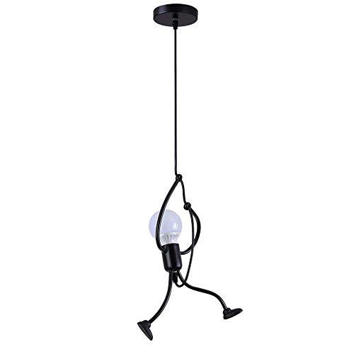 Goeco Pendelleuchte SchwarzVintage LED Deckenleuchte- E27 Eisen Kronleuchter ModernCartoon Hängeleuchtefür Kinder Schlafzimmer Wohnzimmer Foyer Küche - Lampe nicht Enthalten