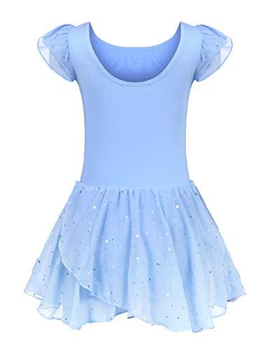 Kinder Ballettkleidung Ballettkleid Mädchen Kurzarm Baumwolle Balletttrikot Ballettanzug Tanzkleid Tanzbody mit Rock Tütü, 150, Blau