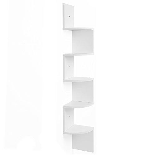 VASAGLE Eckregal, 5 Ebenen Hängeregal, Wandregal mit Zickzack-Design, Bücherregal, Weiß 20 x 20x 127,5cm LBC20WT