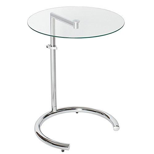 Invicta Interior Design Beistelltisch Effect 50-70 cm Chrom Glas höhenverstellbar Tisch Glasplatte Glastisch