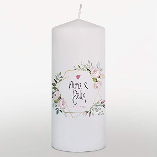 Hochzeitskerze mit Namen und Datum Grün, Traukerze Hochzeit Boho Rosen, Weiß