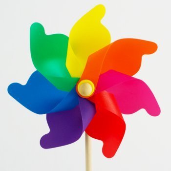Windspiel - Moulin 31 Rainbow - UV-beständig und wetterfest - Windrad: Ø31cm, Standhöhe: 75cm - fertig aufgebaut inkl. Standstab (Rainbow)