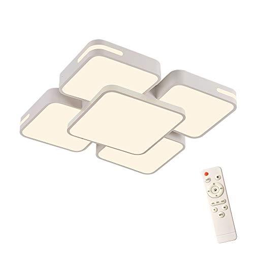 HENGMEI 48W Deckenleuchte LED Deckenlampe Dimmbar mit Fernbedienung Wohnraumleuchte Acryl Küchenlampe für Wohnzimmer Schlafzimmer (Dimmbar, 48W)