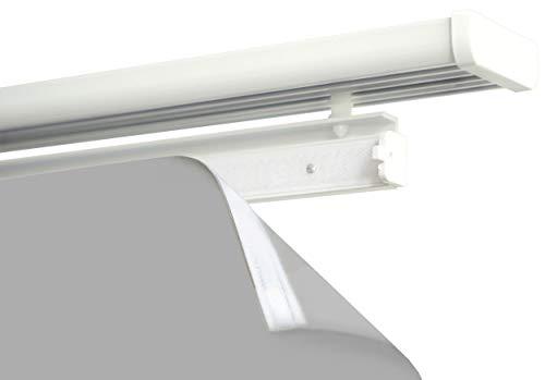 Gardinenbox 4er Pack 60 cm Paneelwagen aus Aluminium Weiß für Flächenvorhang incl.Beschwerungsstange Rollen- und X-Gleiter, 10000324