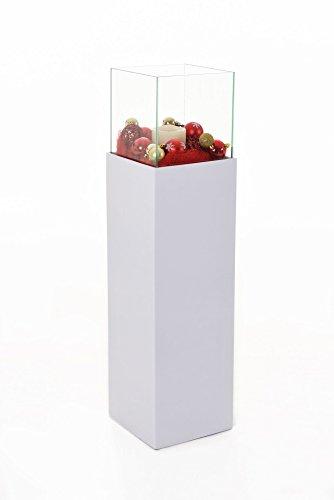 Windlichtsäule Kerzenhalter Gartenlampe Laterne 'Candela' 100 cm hoch, Weiß Matt