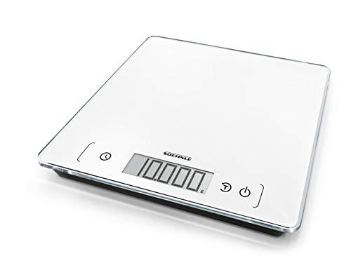 Soehnle Page Comfort 400 Digitale Küchenwaage, Gewicht bis zu 10 kg (1-g-genau), runde Haushaltswaage mit Sensor-Touch, elektronische Waage inkl. Batterien, extragroße Wiegefläche, weiß