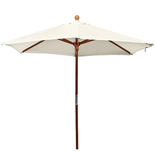 anndora 21002 Sonnenschirm, natur, 210 cm rund, Gestell Holz, Bespannung Polyester, 5 kg