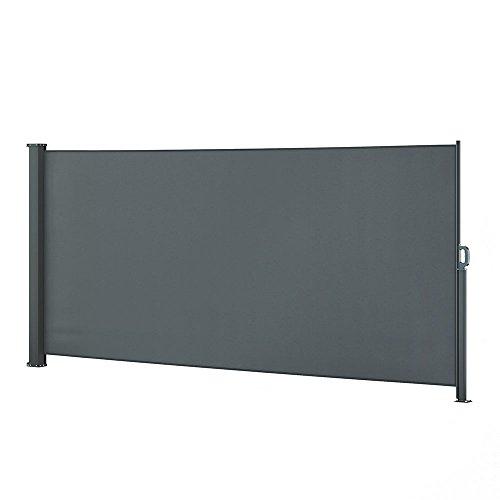 OSKAR Seitenmarkise Sichtschutz Sonnenschutz Seitenrollo Markise Anthrazit (160x350cm)