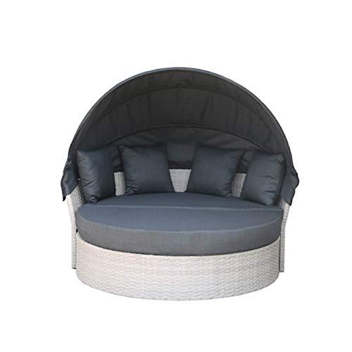 Riess Ambiente Wandelbare Sonneninsel Playa 165cm inkl. Kissen und drehbarer Sitzfläche Liegeinsel Lounge Polyrattan Outdoor fähig Gartenmöbel