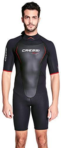 Cressi Altum Wetsuit Shorty Herren Neoprenanzug Premium Neopren 3mm, Schwarz/Rot, XXL