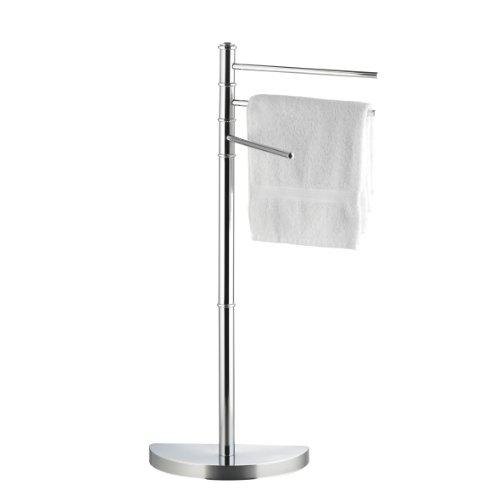 axentia Handtuchständer Lianos ohne Bohren mit drei Armen 86 cm hoch - Handtuchhalter aus Chrom - Handtuchstange stehend - Badetuchhalter verchromt mit Bodenplatte halbrund - Bad Handtuch-Ständer freistehend