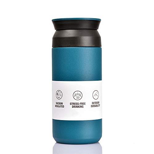 BOHORIA Premium Edelstahl Kaffee-to-Go-Becher - Isolierbecher - Thermo-Becher - Doppelwandig & Vakuumisoliert - 350 ml - Reise-Becher Kaffee und Tee zum Mitnehmen - Autobecher Travel Mug (Teal)