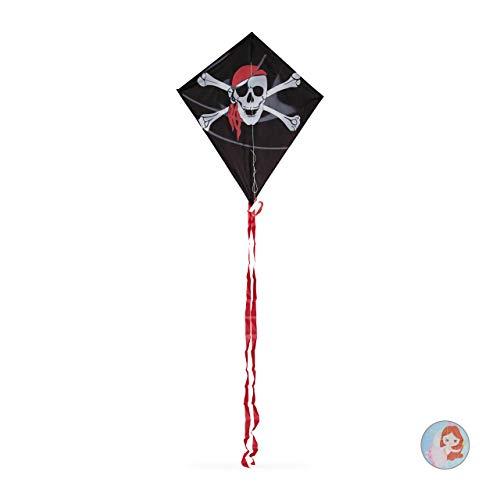 Relaxdays Drachen, Einleiner, klassisch, Jungen Kinderdrachen mit Totenkopf Motiv, Pirat, Schnur 30 m, 87x79cm, schwarz
