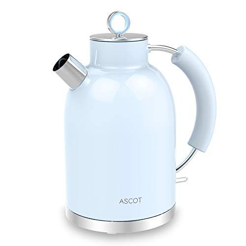 Wasserkocher Edelstahl, ASCOT Elektrischer Wasserkessel, 2200 W, 1,6 liter, Retro Design, kabelloser Teekocher, BPA frei, Trockengehschutz, automatische Abschaltung, Blau