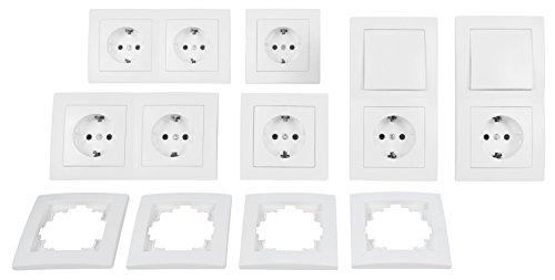 Schalter und Steckdosen-Set FLAIR 'Standard', 20-teilig, weiß