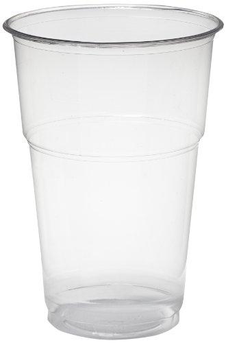 Papstar Plastikbecher / Einwegbecher 0.4 l  'pure' (70 Stück), Bio-Kunststoff PLA Durchmesser 9.5 bis 13.2 cm glasklar mit Schaumrand, biologisch abbaubar, #16175