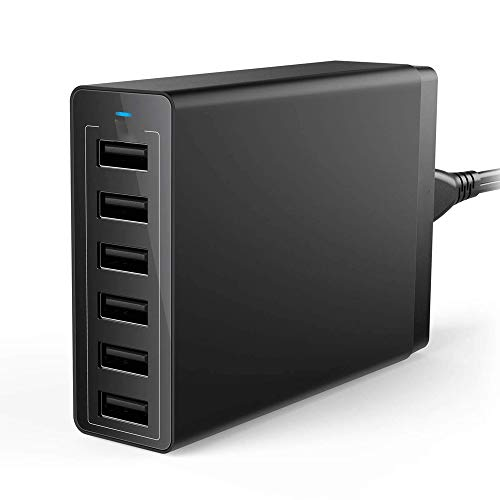 QJGhy USB hub USB-Ladegerät, 6-Port-USB-Handy-Ladegerät 5V10A Universal-Ladegerät Multi-Port-Reiseladegerät 50W Smart Charger USB Adapter (Color : Black)