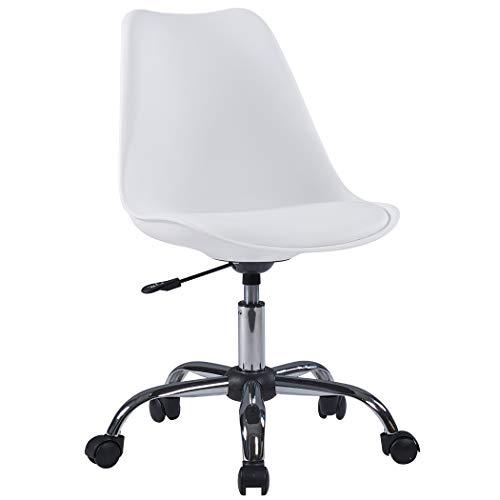 Duhome Bürostuhl Kunststoff Kunstleder Weiß Drehstuhl Schreibtischstuhl ergonomisch Retro Design höhenverstellbar Farbauswahl 518SF