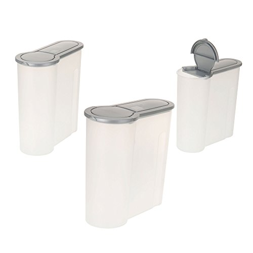 ToCi 3-teiliges Vorratsdosen-Set | Schüttdosen Streudosen Haushaltsdosen in 3 Größen mit 4,0L 2,4L 1,3L |Farbe: Grau-Transparent