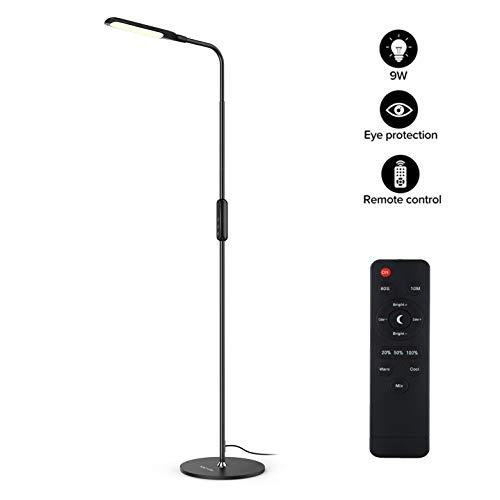 LED Stehlampe dimmbar mit Ferbedienung und Touchschalter NACATIN 9W Leselampe mit 5 Farbtemperaturen 5 Helligkeitsstufen 360° Drehfunktion Moderne Standleuchte für Wohnzimmer und Büro Schwarz