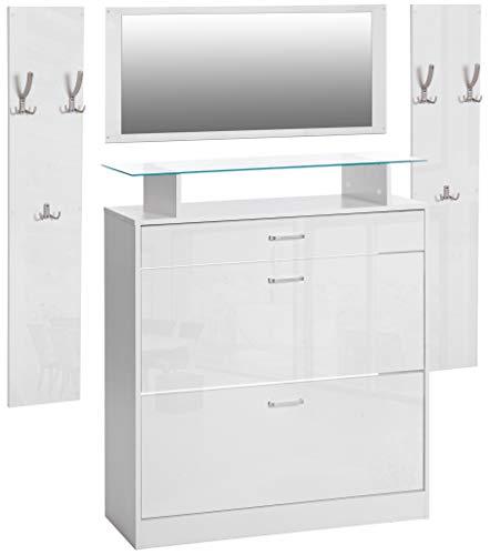 ts-ideen 4er Set Garderobe Spiegel Schuhschrank Schuhkipper 2 Wandpaneele Kleiderhaken Weiß Hochglanz