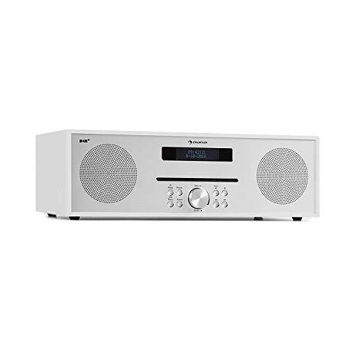 auna Silver Star CD-FM CD-Player mit DAB+- und UKW-Radio • Slot-In CD-Player • CD-Radio • Bluetooth • 2 x 20 Watt max. • USB • AUX-IN • Kopfhörerausgang • Aluminium • inkl. Fernbedienung • weiß